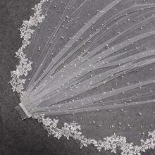 Alta qualidade pérolas véu de casamento com apliques renda borda 2.5 metros longo véu nupcial com pente 250cm véu para a noiva