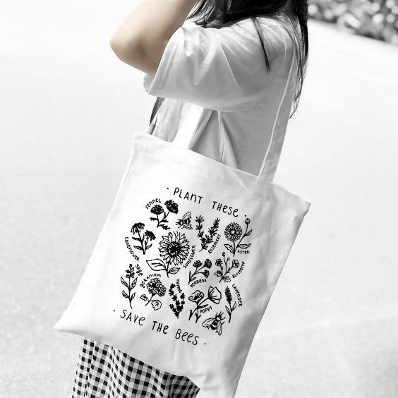 2019 New Women Canvas Bag Eco Reusable Shopping Bags Foldable Shoulder Bag Girls Students Fashion Tumblr Graphic Handbag Tote