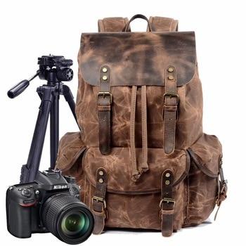 Vintage Canvas Waterprpof Mochila Camara Reflex Portable Camera Backpack Digital Bag DSLR Video Shoulders Padded Photo Backpack