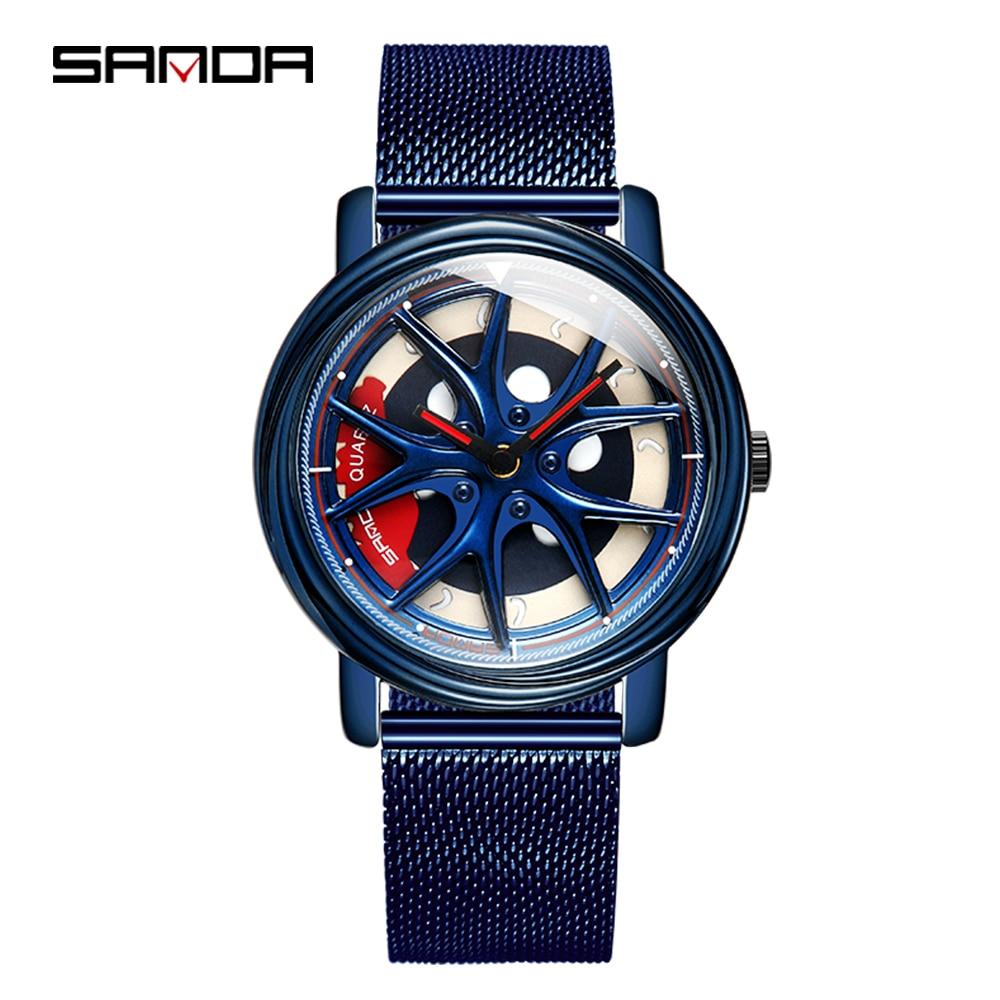 SANDA Top Brand Fashion Outdoor Men Watch Special Rotating Dial Wheel Watches Quartz Movement Gift Wristwatch Montre Homme 1025Quartz Watches   -