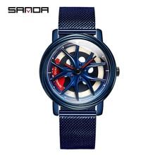 SANDA üst marka moda açık erkekler İzle özel döner kadran tekerlek saatler kuvars hareketi hediye kol saati Montre Homme 1025