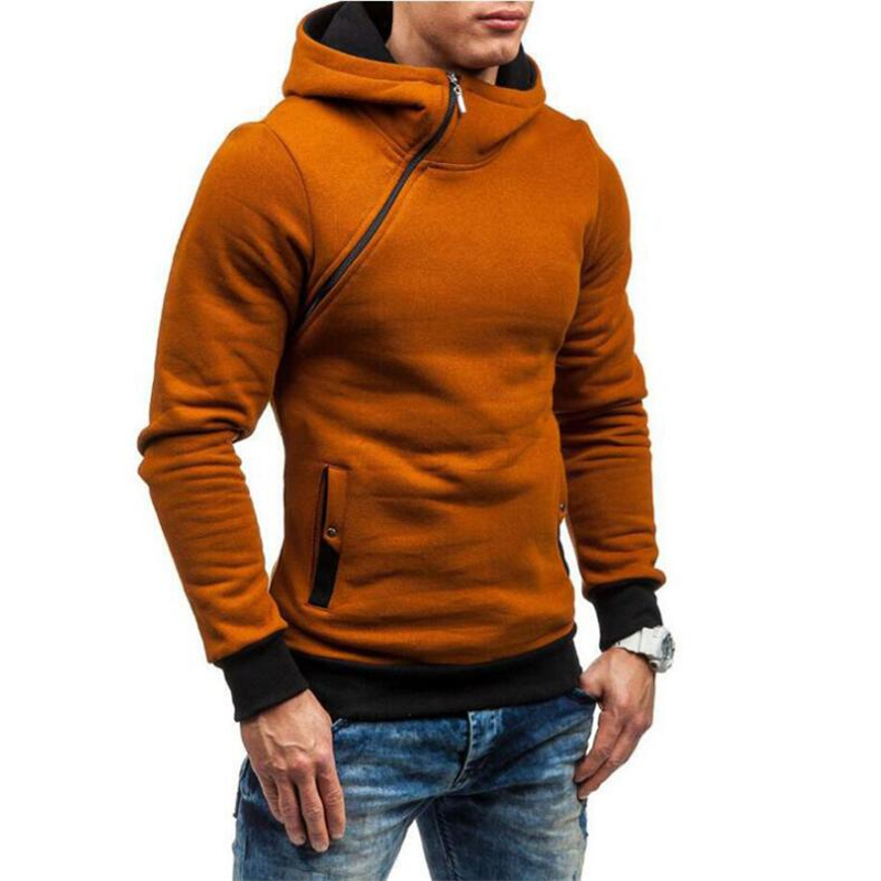 New Winter Thicken Warm Hoodies Oblique Placket Sweatshirts Brand Hooded Men Casual Coats Jackets Printed Long Sleeve
