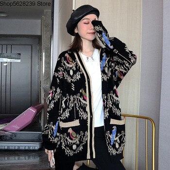 19 artículos europeos estilo extranjero de lujo corte suéter abrigo oro Línea alámbrica bordado cuello en V chaqueta femenina de punto