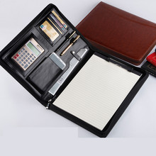 A4 Business PU Leather Zipper Document Bag Manager Card Pen-phone Holder Conference Calculator Folder School Office Stationery