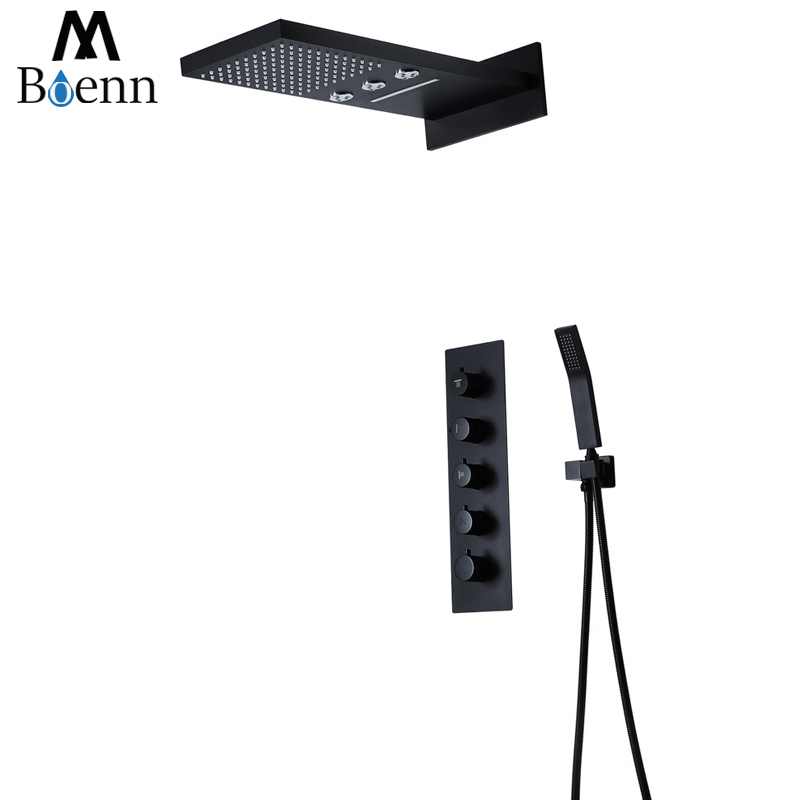 Rainfall Showerheads Black Thermostatic Shower Faucets Set Wall Mounted Bathroom Waterfall