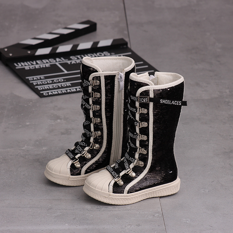 Kid Shoes Children's Shoes Autumn And Winter New Boys Girls Knee High Sequin Martin Boots Plush Soft Bottom Leather Boots