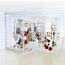 Fashion Clear PS Material Makeup Organizer Jewelry Box Earrings Rack Earring Holder Showcase Stand