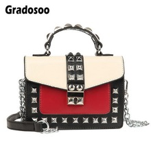 Gradosoo Rivet Flap Bags Women Panelled Shoulder For Leather Mini Female Chain Design Small Fashion HMB644
