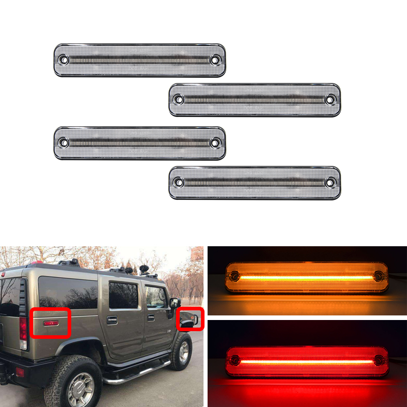 4PCs Front & Rear Led Side Marker Lights For Hummer H2 2003 2004 2005 2006 2007 2008 2009 Clear Smoke Turn Signal Lamp
