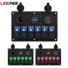 LEEPEE 4.2A Rocker anahtarı paneli su geçirmez dijital gerilim ekran anahtarı paneli ile çift USB soket yuvası soket
