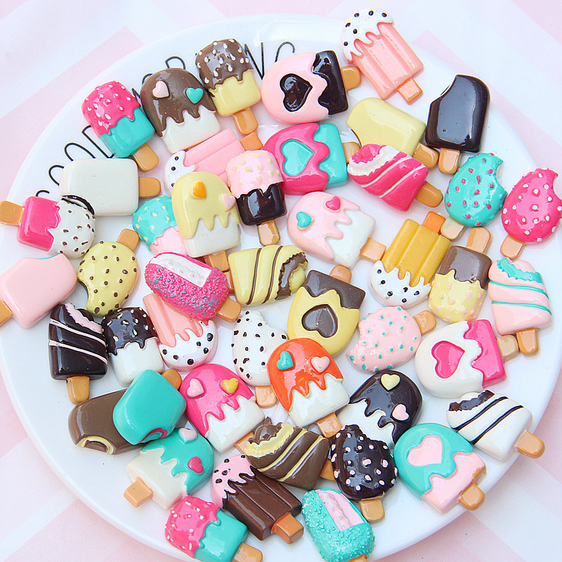 30Pcs Candy Color Ice Cream Supplies Charm Resin Slime Toys Accessories Phone Case Decoration Handmade Craft Ornament Girls Toys