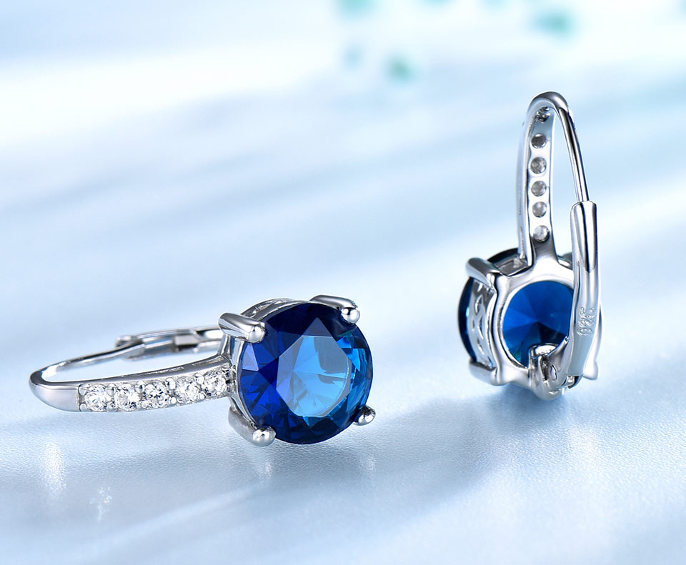 H0761a8d5e13d4a45a3a4c81bc8da7f38Y UMCHO 100% Real Silver 925 Jewelry Round Created Nano Sapphire Clip Earrings For Women Party Fashion Gift Charms Fine Jewelry