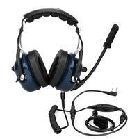 עבור kenwood Retevis EH050K כחול VOX נפח רעש התאמת רמקול הפחתת תעופה MIC אוזניות עם אצבע PTT עבור Kenwood Retevis (1)