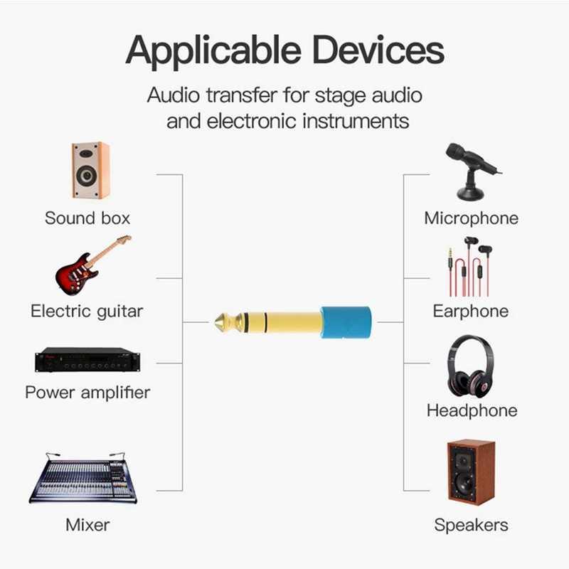 6.5mm 6.35mm 1/4 pouce mâle à 3.5mm 1/8 pouce prise femelle casque stéréo câble AUX adaptateur Audio prise pour guitare prise amplificateur J