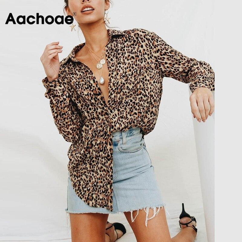 Aachoae Sexy blusa estampado de leopardo de manga larga de las mujeres Blusas sueltas 2020 Casual Camisa de cuello túnica Tops Blusas Mujer