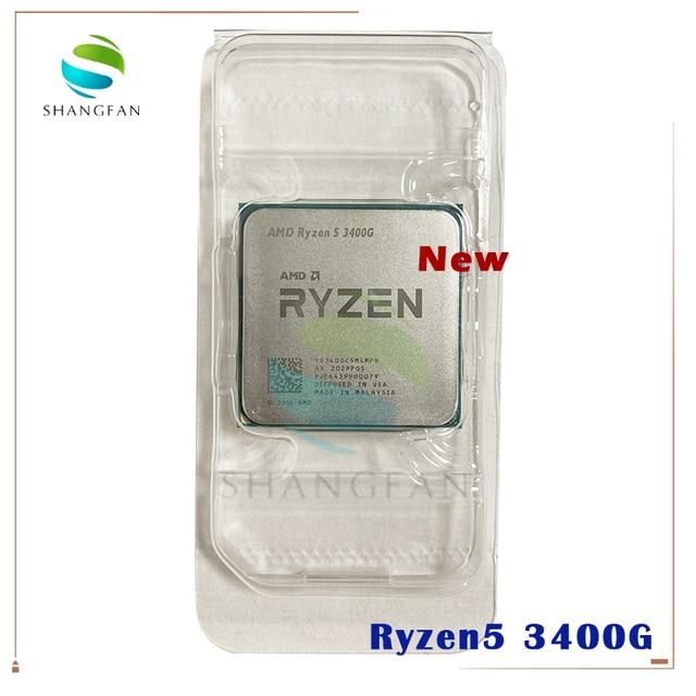 NEW AMD Ryzen 5 3400G R5 3400G 3.7 GHz Quad Core Eight Thread 65W CPU Processor YD3400C5M4MFH Socket AM4 Without Fan