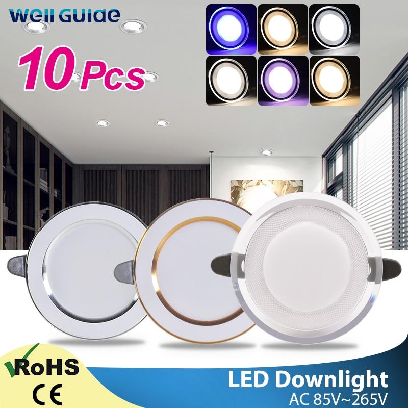 10pcs Led Downlight 3W 5W AC220V-240V New Six Color Led Recessed Downlight Kitchen Living Room Led Light Spot Indoor Round Light