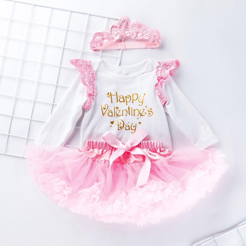 Newborn Infant Baby Girl Letter Romper Tops+Skirt Valentine/'s Day Outfits Set