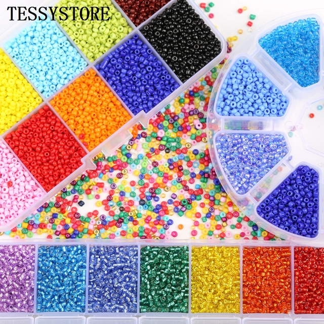 TESSYSTORE Box Set 2mm Glass Seed Beads Czech Charm Crystal Spacer Glass Beads For Jewelry Making Rings DIY Handmade Accessories