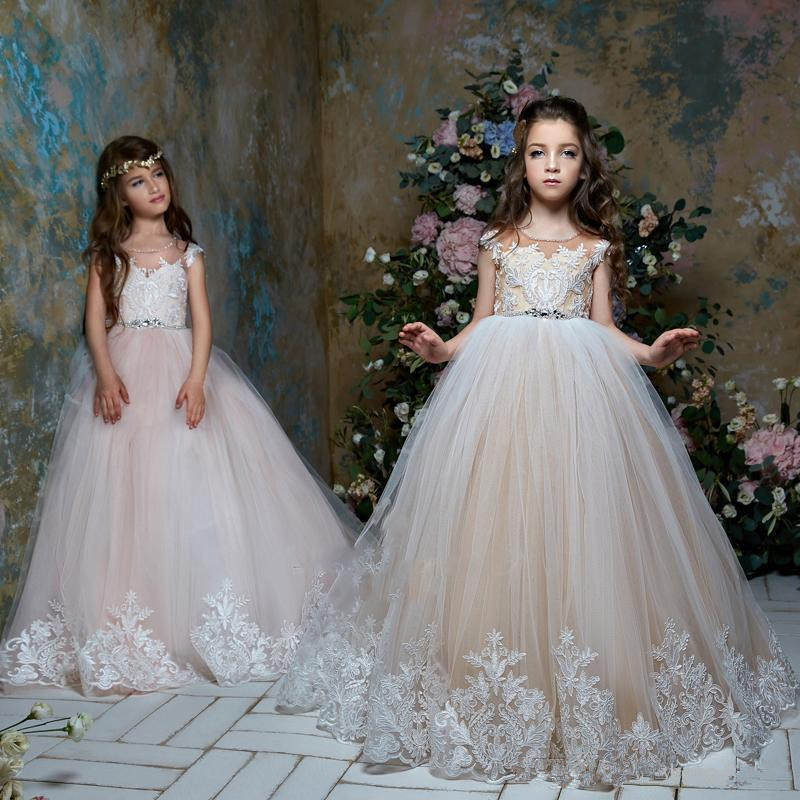 Flower Girl Dresses For Weddings Ball Gown Cap Sleeves Tulle Lace Crystals Long First Communion Dresses For Little Girl