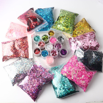 50G Holographic Heart Shaped Nail Sequin Hollow Ultra-thin Laser Mirror Flash Polyester Film Craft Beauty Nail Decoration 3Mm image