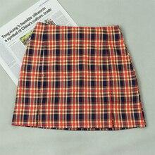 2020 vintage tartan print slit mini skirts womens high waist  plaid skirt ladies bodycon pencil skirt summer faldas mujer za rose print slit back pencil dress