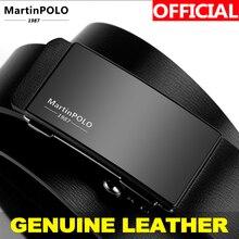 MartinPOLO Cinturón de piel de vaca con hebilla de aleación sin dientes para hombre, automático, de cuero genuino, para negocios, MP01101P