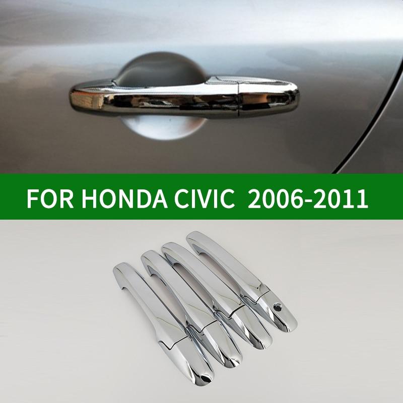 لهوندا سيفيك 2006-2011 الجيل الثامن كروم الفضة غطاء مقبض الباب الحافة الكسوة 2007 2008 2009 2010