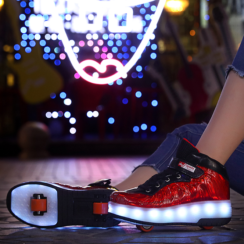 Size 29-40 Shoes With Wheels Luminous Sneakers Kids Led Shoes With USB Charging Two Wheels Led Light Roller Skate Shoes