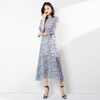 2019 Summer New Style Brand Physical Store WOMEN'S Dress Korean style Crew Neck Chiffon Printed Waist Hugging Half sleeve Shirt