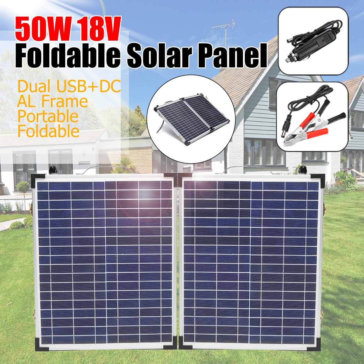 50W 18V Foldable Portable Solar Panel Monocrystalline cells battery charger with Car Charger for Outdoor Camping Waterproof|Solar Cells| |  -