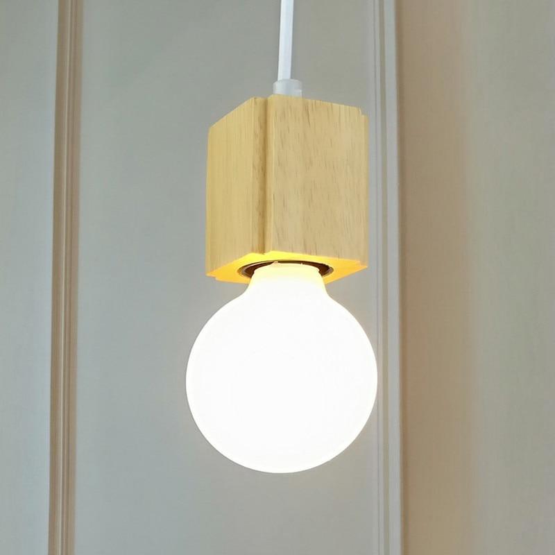 Nordic Hanglamp Woden Hanglamp Voor Home Verlichting Moderne Opknoping Lamp Aluminium Lampenkap Led Lamp Keuken Licht E27 Ing-in Hanglampen van Licht & verlichting op title=
