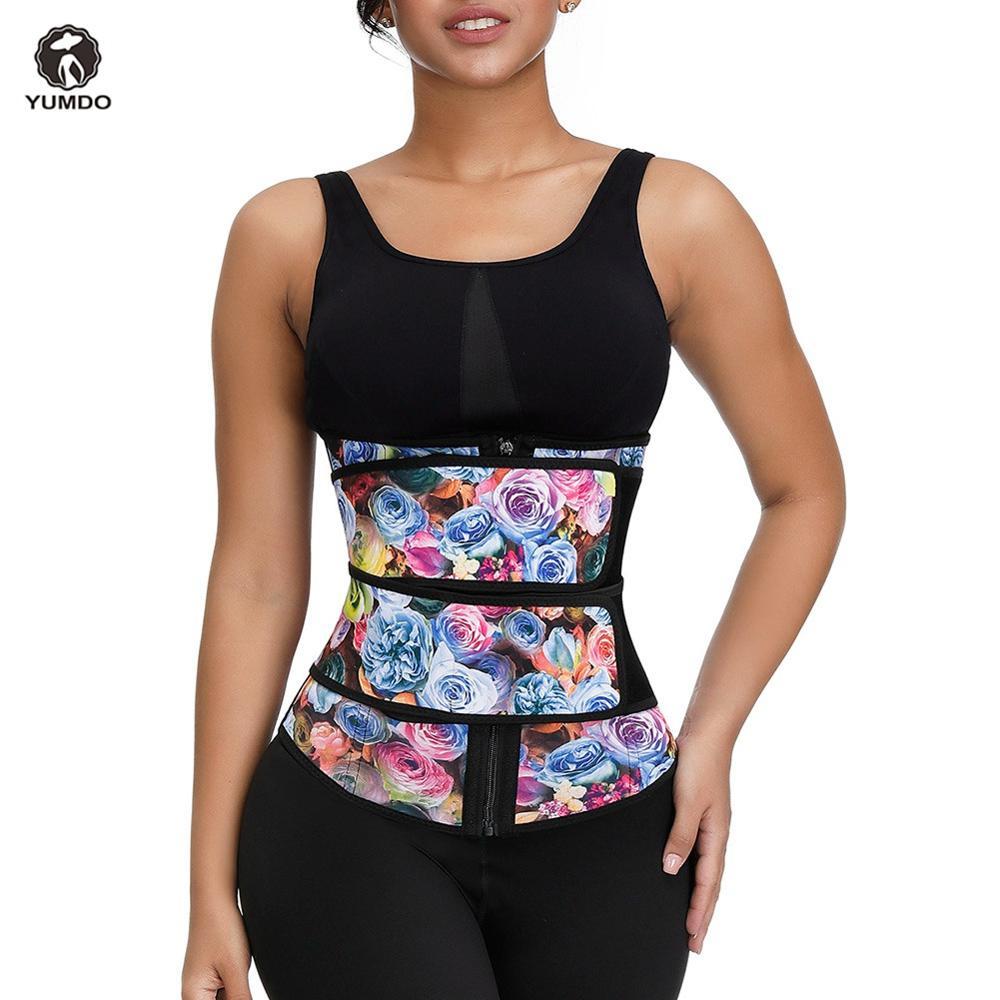 Yumdo novo 100% corpo de látex shaper barriga emagrecimento cinto impressão compressão zíper mais tamanho desossado cintura cincher espartilho cintura trainer