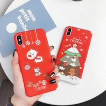 Luminous Christmas Phone Case For iPhone 7 8 X 6 6S Plus XR XS XSMAX Cartoon Santa Claus Elk Matte Hard PC Back Cover Coque Capa