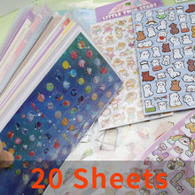 20 Sheets Cute Korean Cartoon Sticker DIY Scrapbooking Junk Journal Stationery Mobile Computer Decoration Stickers Wholesale