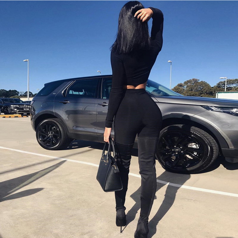Helisopus Women Sexy Two Piece Set 2019 Autumn Zipper Turtleneck Long Sleeve Crop Tops Casual Stretch Shorts Tracksuit