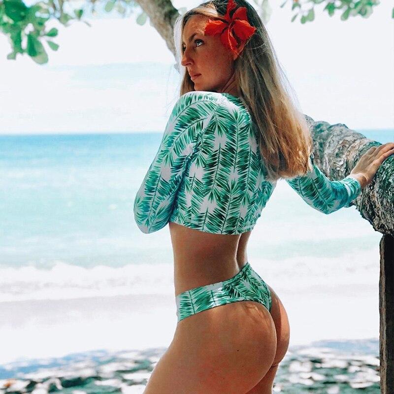 Сексуальный бикини с длинным рукавом, женский купальник, с принтом зеленых листьев, купальные костюмы, пляжная одежда, бразильский комплект бикини, бикини для женщин