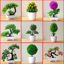 Bonsái para plantas artificiales, maceta para árboles pequeños, flores falsas, adornos en maceta, decoración para el hogar, mesa de Hotel, bonsái de pino de bienvenida