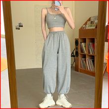 Trousers Joggers Loose Sweatpants Sporty-Style Grey Basic Femme Korean Casual Fashion