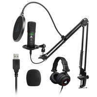 MAONO PM401H USB Condenser Microphone With Studio Monitor Headphone 192kHz/24bit Professional Podcast Mic for Computer Youtube