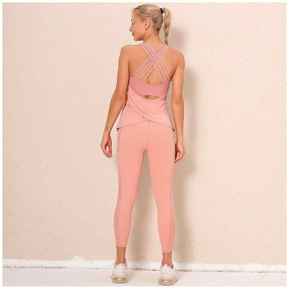 doppelseitige brokat sexy schöne zurück yoga kleidung anzug frauen lange  fitness gamaschen läuft sportswear anzug körper gestaltung