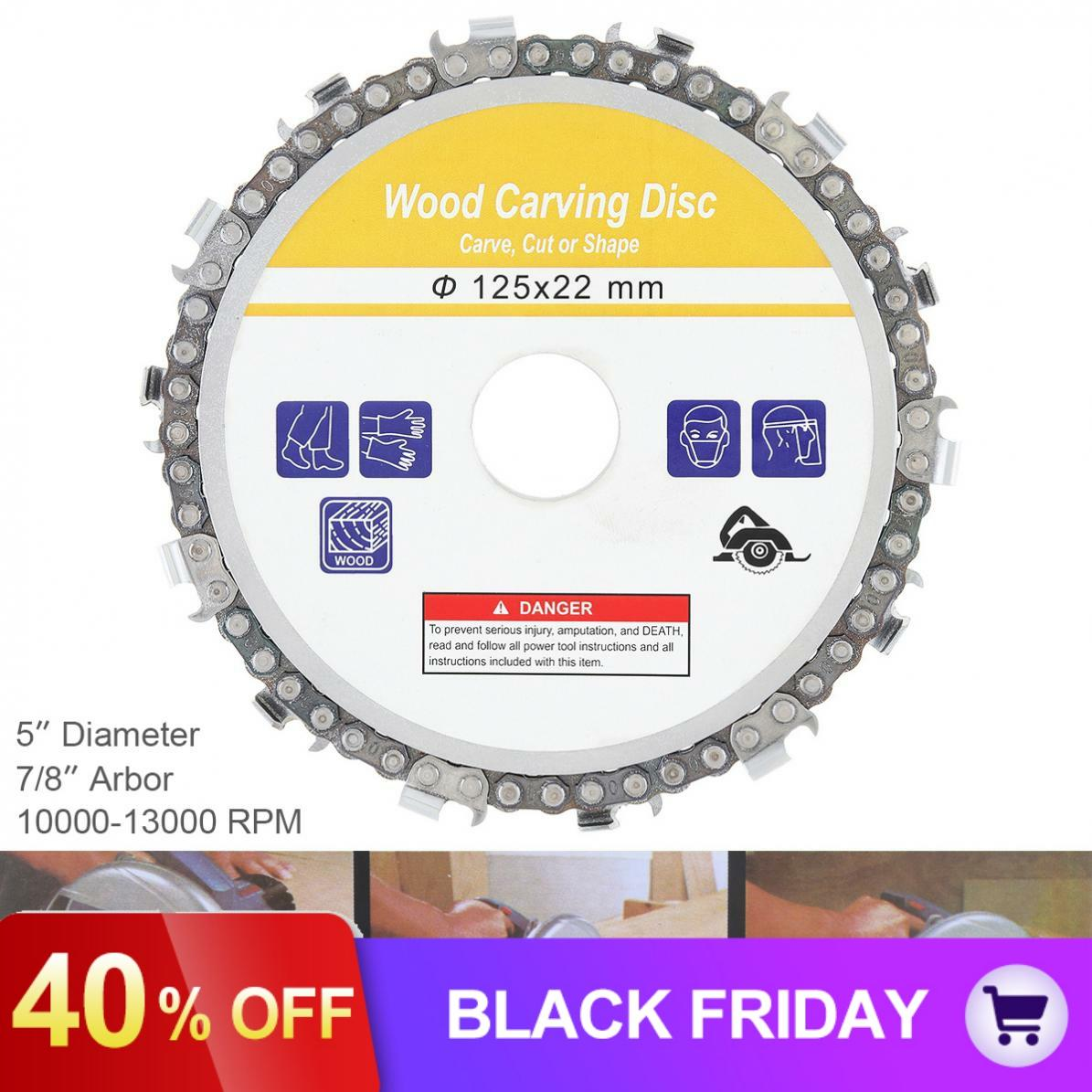 5 Inch 125 X 22mm 14 Tooth Wood Carving Disc Saw Blade Angle Mill Slotted Sawblade Wood Cutting Angle Grinding Chain Disk