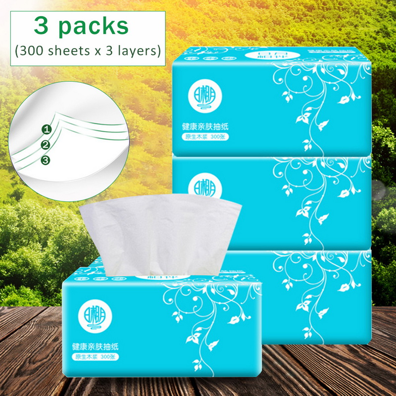 3 Packs/900pcs Facial Tissue Paper Log Pumping Handkerchief Of Pumping Paper Towels Kitchen Household Papers Towels Baby Tissues