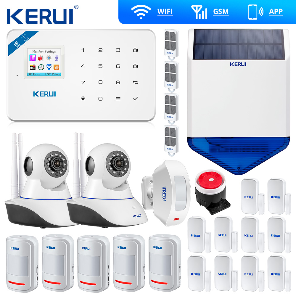 KERUI W18 WIFI GSM SMS Home Burglar Security Alarm System Curtain Motion Sensor Wireless Solar Siren IP Camera GSM Alarm System