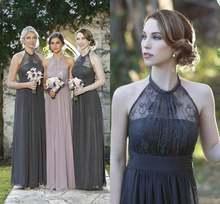 Темно серые шифоновые длинные платья подружки невесты романтические