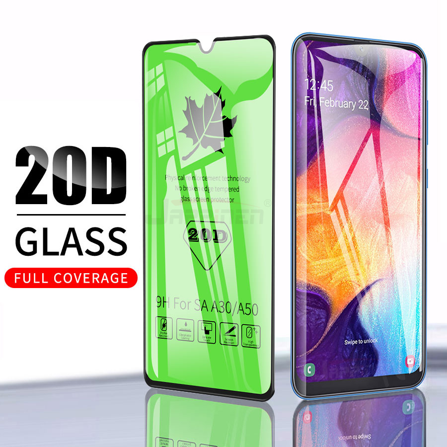 20D Full Glue Cover Tempered Glass For Samsung Galaxy A50 A20 A30 A40 A70 A80 A90 A10 M20 M30 M40 Screen Protector Glass Film