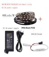 3 4m DC5V WS2812B Led Strip 60 pixels/leds/m WS2812 IC Smart 5050 RGB led Strip light+5V LED Power Supply + LED Controller