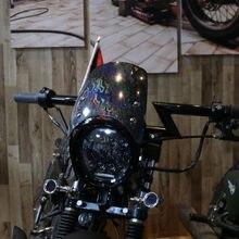Ветровой экран для Кафе Racer SUZUKI YAMAHA HONDA Универсальный лобовое стекло мотоцикла Ретро черный серебристый мото ветровой отражатель