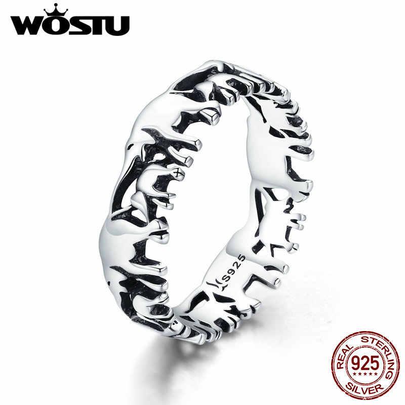 WOSTU 100% เงินแท้ 925 สัตว์ครอบครัวช้างแหวนเงินผู้หญิงแฟชั่น 925 เครื่องประดับของขวัญ CQR344