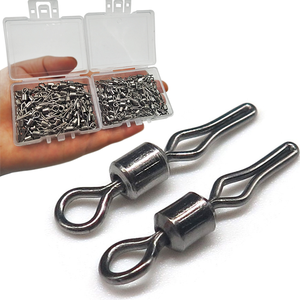 100pcs/box Swivel Side Line Clip Fishing Tackle Fishhooks And Crap Fishing Connector Fishing Swivels With Snap Accessorries
